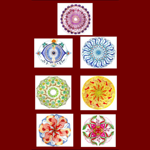 Chakra tekeningen, kleurpotlood tekst