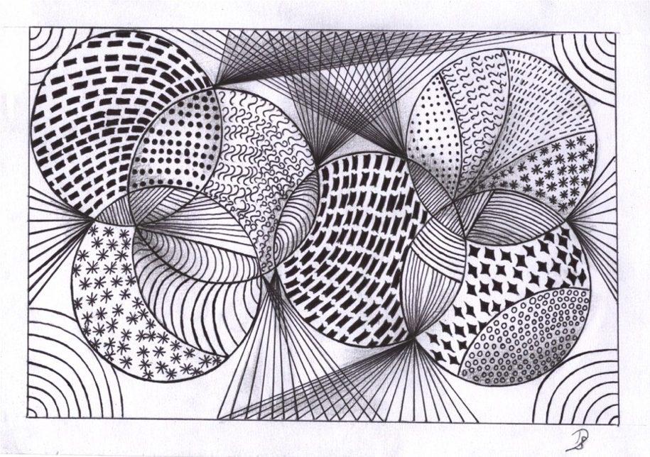 zentangle tekenen, vrij ontwerp.het begin.