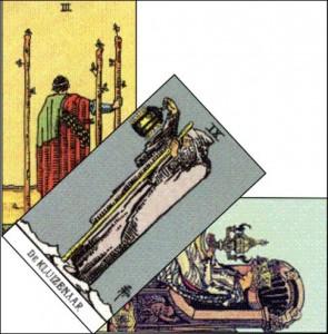 tarot van Waite, staven3, koningin van bokalen, de kluizenaar. Maak gebruik van je eigen intuïtieve wijsheden door het toetsen van ervaringen op de tarot dag