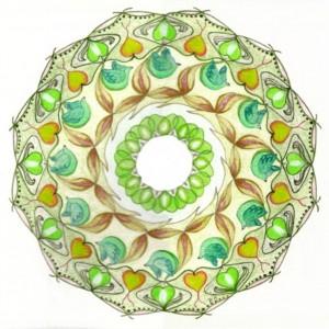 Hart-chakra -kleurpotlood , mandala tekenen