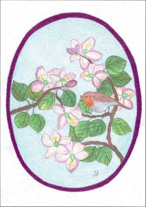 Bloemenei met roodborst, bloemen