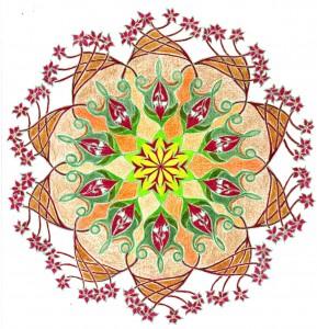 Bloemenfantasie ,mandala tekenen