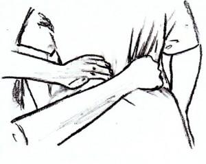 ademtherapie, adem-therapie, rebirthing. handpositie 3de chakra
