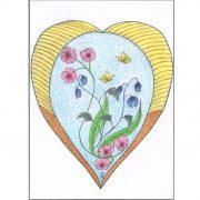 Bloemen hart met vlinders