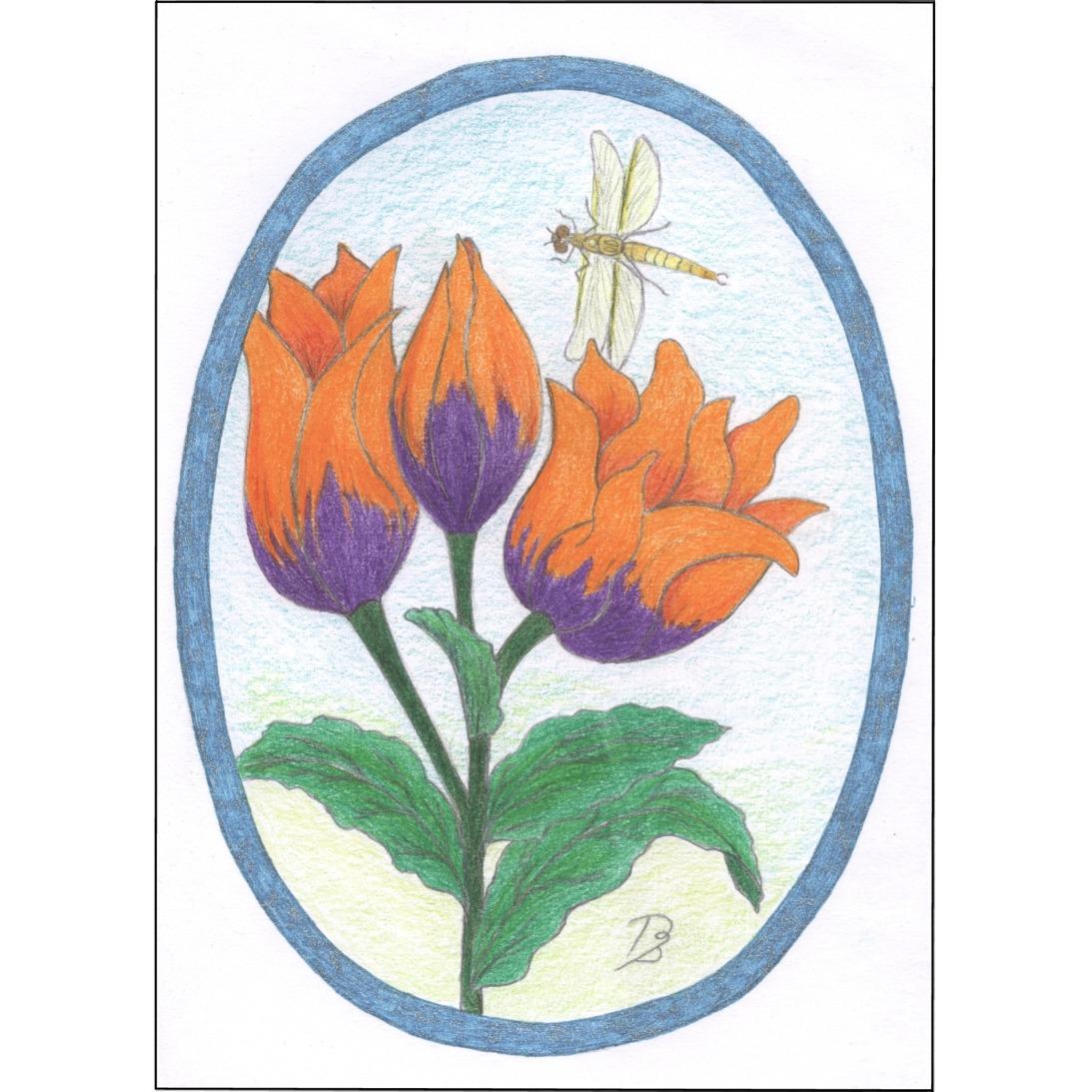 tulpen met libelle