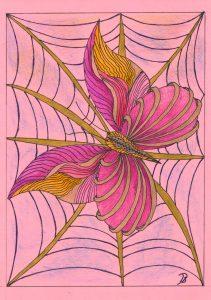 zentangle tekenen, vrije ontwerp vlinder