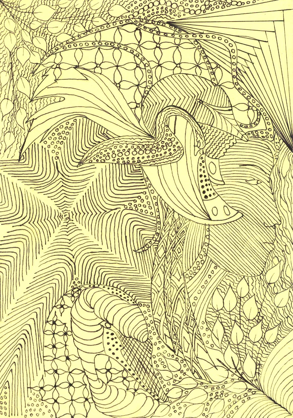 zentangle tekenen, vrije ontwerp met gezicht