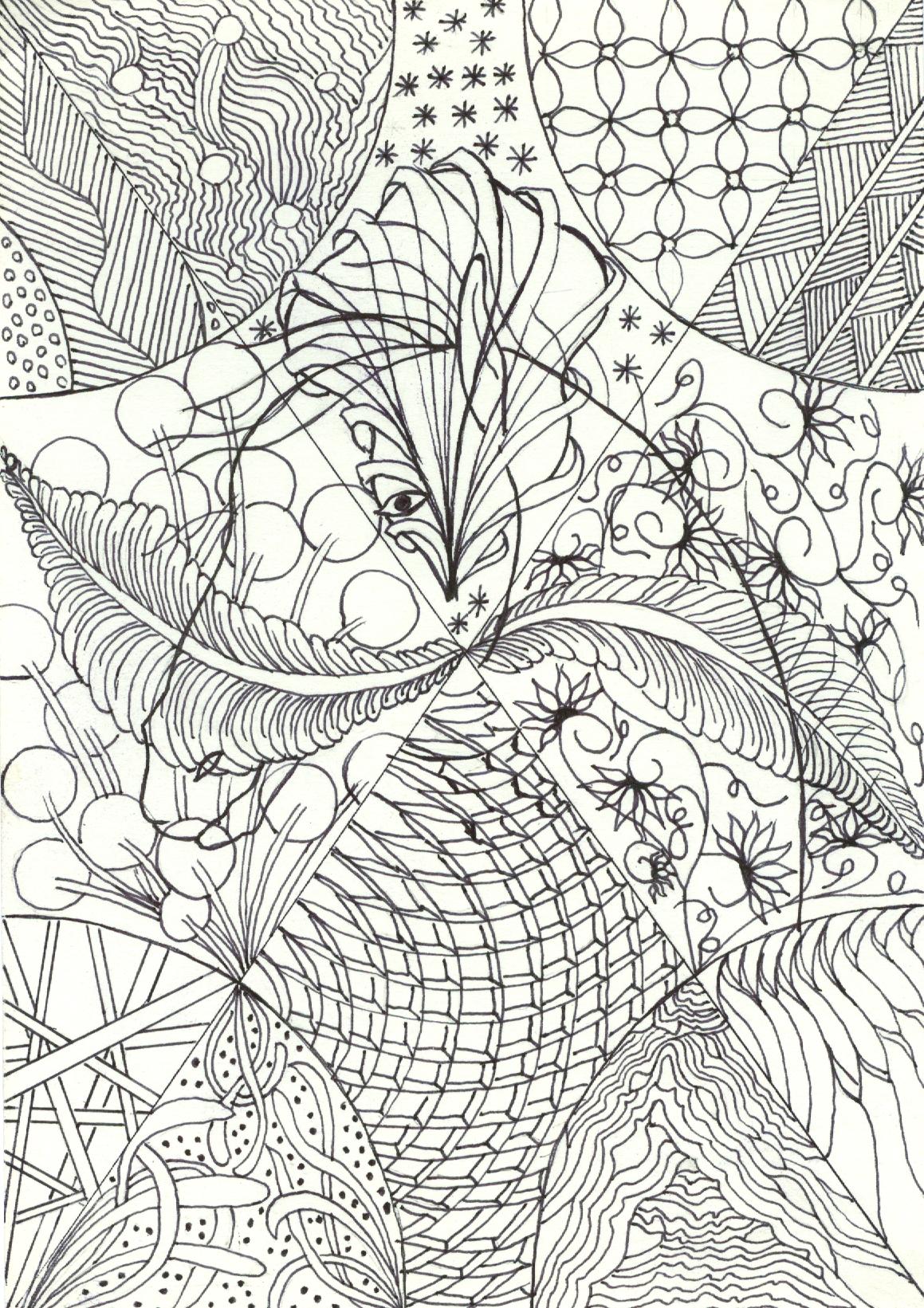 zentangle tekenen, vrije ontwerp met bloemstructuren