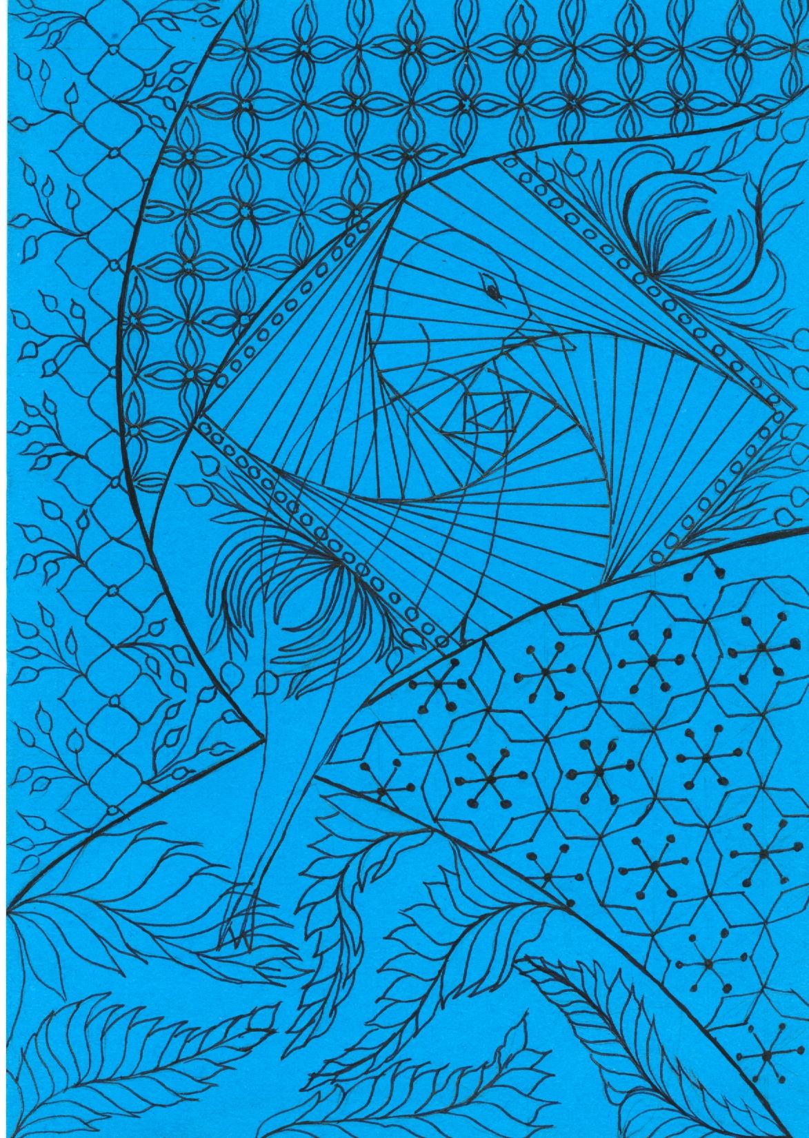 zentangle tekenen, vrije ontwerp met eend of zwaan