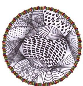 zentangle tekenen, vrij ontwerp. uit het begin