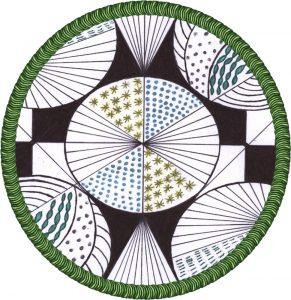 zentangle tekenen, vrije ontwerp poging.