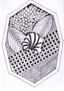 zentangle tekenen, vrije ontwerp bloemengedachte