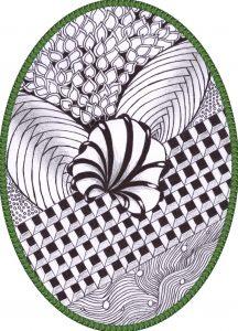 zentangle tekenen, vrije ontwerp bloemengedachte 2