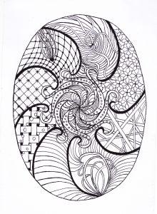 zentangle tekenen, vrije ontwerp eivormdraaien