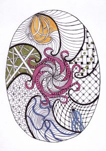 zentangle tekenen, vrije ontwerp eivormdraaien in kleur