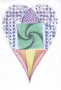 zentangle tekenen, vrije ontwerp een hart