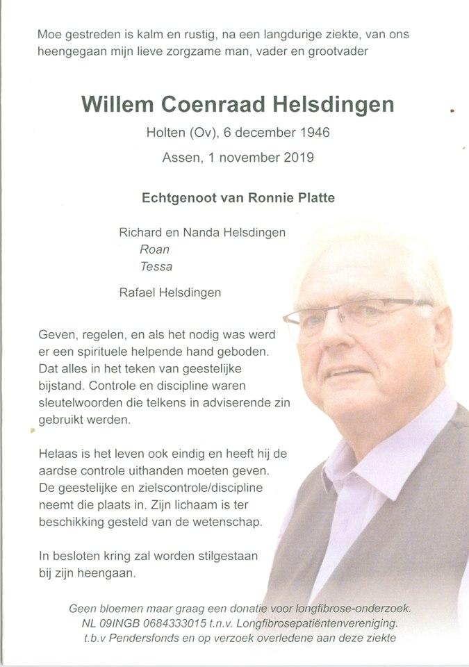 Wim Helsdingen overleden